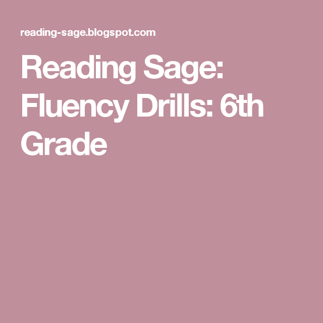 Reading Sage Fluency Drills 6th Grade Homeschool Upper
