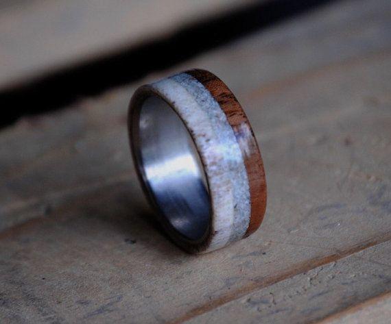 Men S Ring Walnut Larimar Antler 3 Overlays Stone Etsy Rings For Men Antler Design Stone Inlay