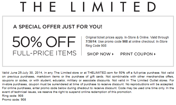 image about The Limited Printable Coupon titled Totally free Printable Discount coupons: The Confined Discount coupons Printable