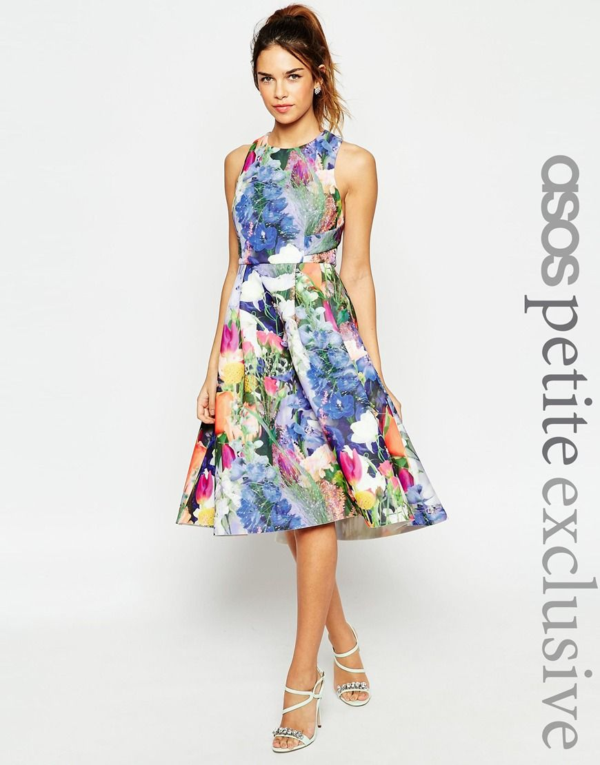 Asos petite premium prom dress in floral scuba bridesmaid dresses
