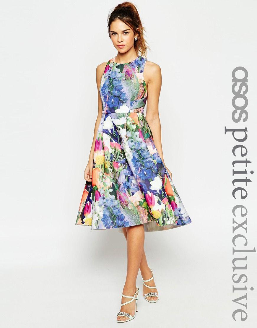ASOS PETITE Premium Prom Dress In Floral Scuba