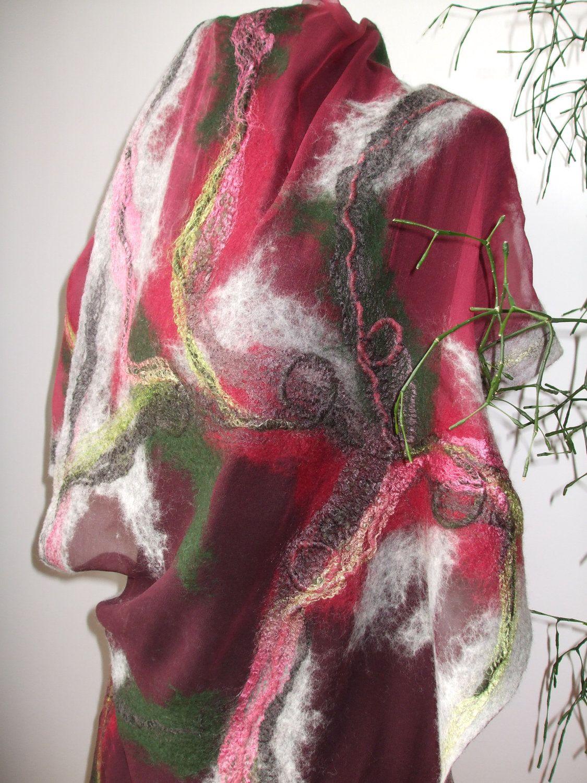 Scarf shawl Spring Fashion Nuno Felted Wool Silk wrap by feltfelt