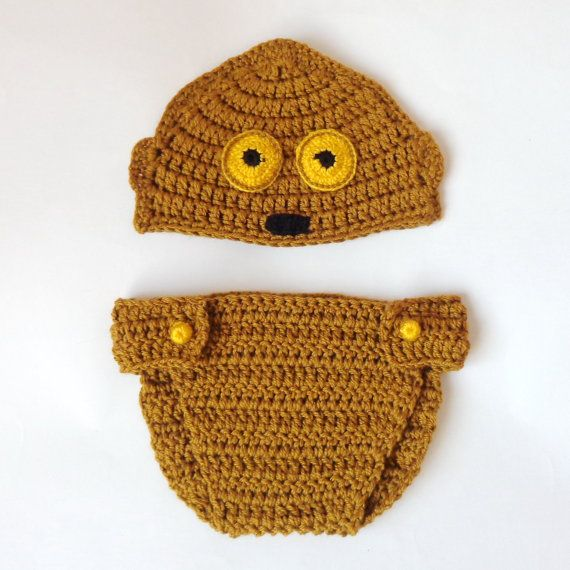 c3po droid baby costume hat and diaper cover from star wars for newborn c3p0 halloween wig cosplay wig - Diaper Costume Halloween