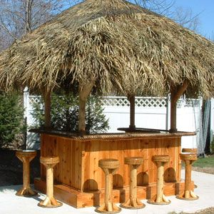 Tiki Bar - Red Cedar Tiki Bar - Custom Tiki Bars For Sale ... on Backyard Tiki Bar For Sale id=37003