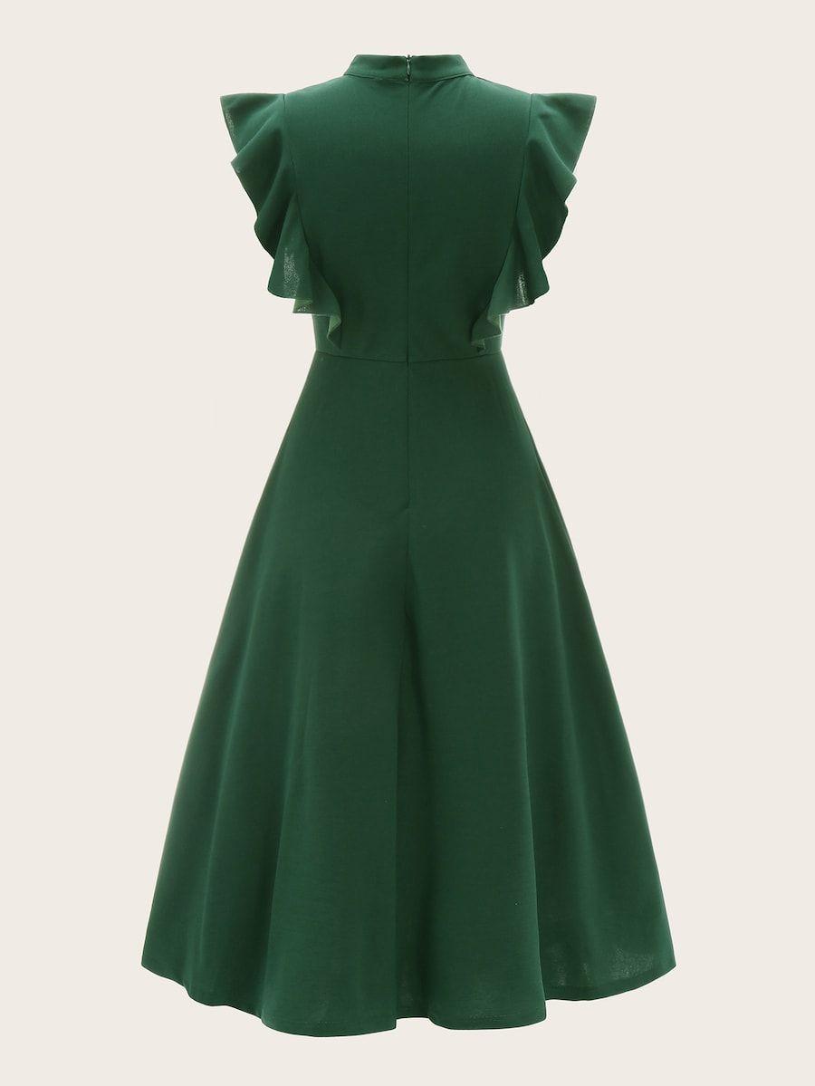 grün rüschen einfarbig vintage kleider | shein | vestidos
