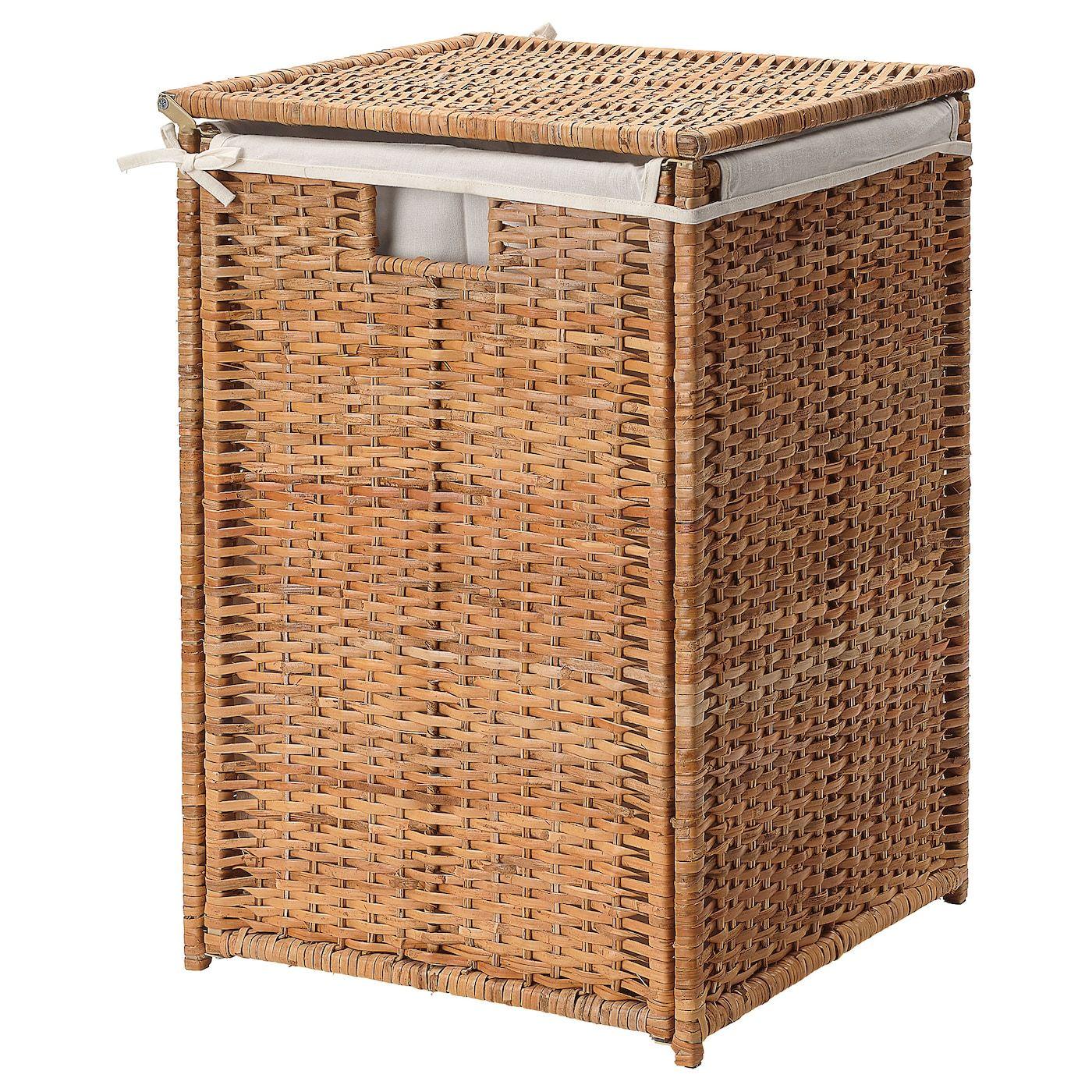 Ikea Branas Laundry Basket With Lining Rattan Laundry Basket