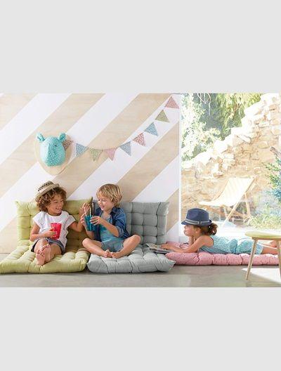 Bodenmatratze für Kinderzimmer GRÜN GESTREIFT