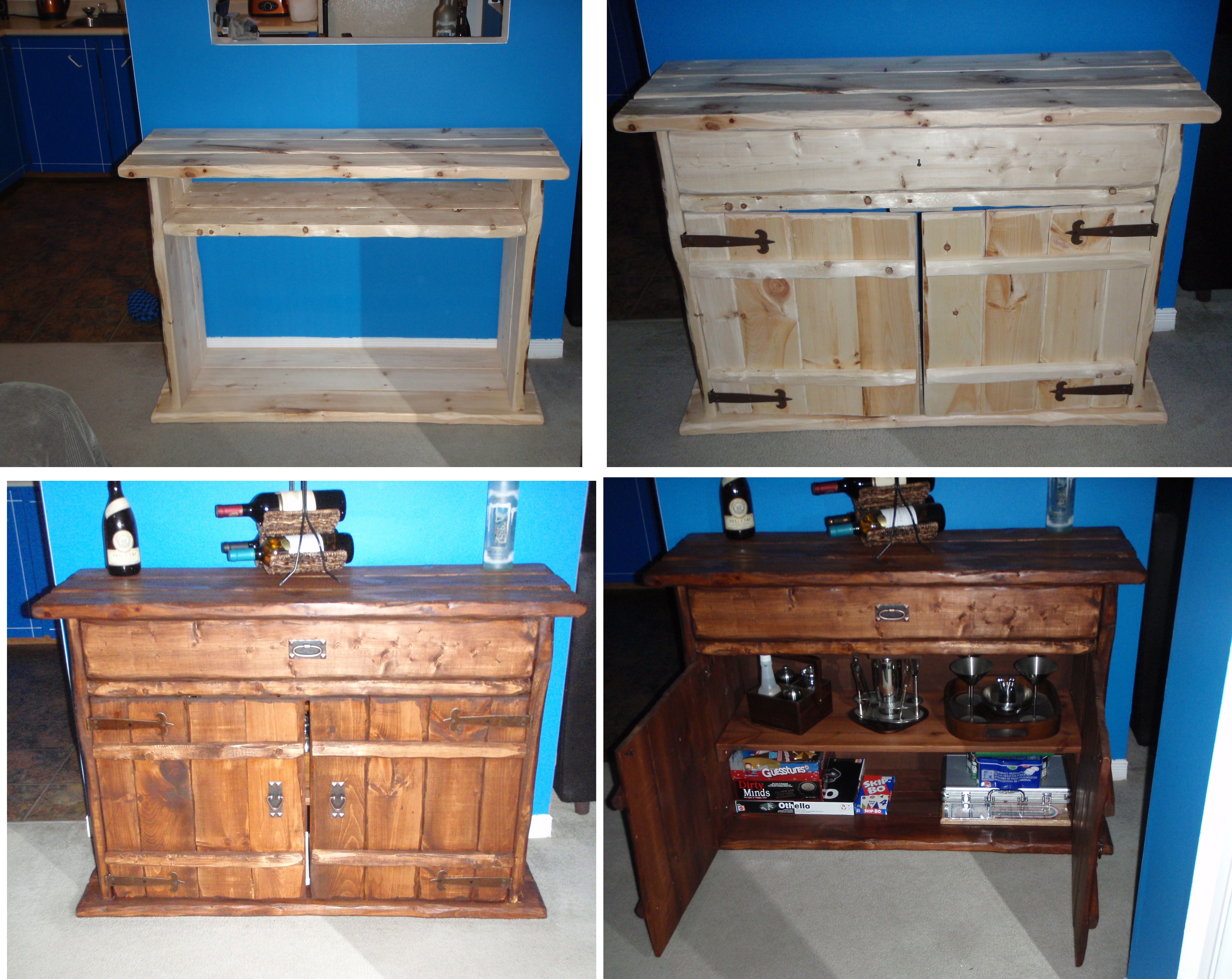 rustic sideboard i made with new materials