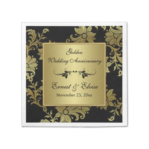 Black Gold Golden Wedding Anniversary Napkins Paper