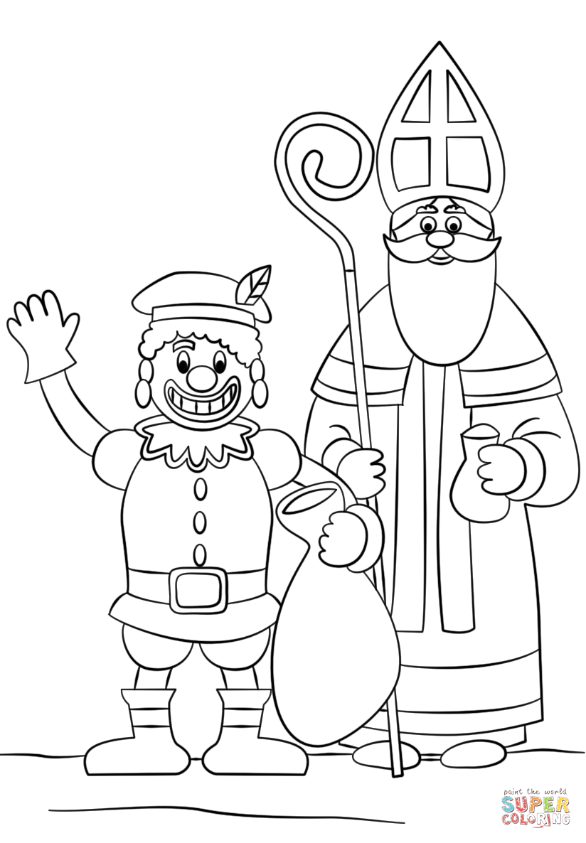 Zwarte Piet And St Nicholas Coloring Page Free Printable Coloring Pages Christmas Tree Coloring Page Tree Coloring Page Coloring Pages