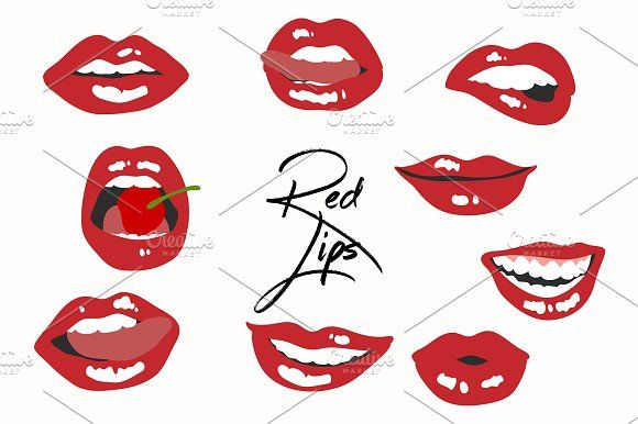 9 Red Hot Lips Graphics Graphics Digital Download Vector Red Lips