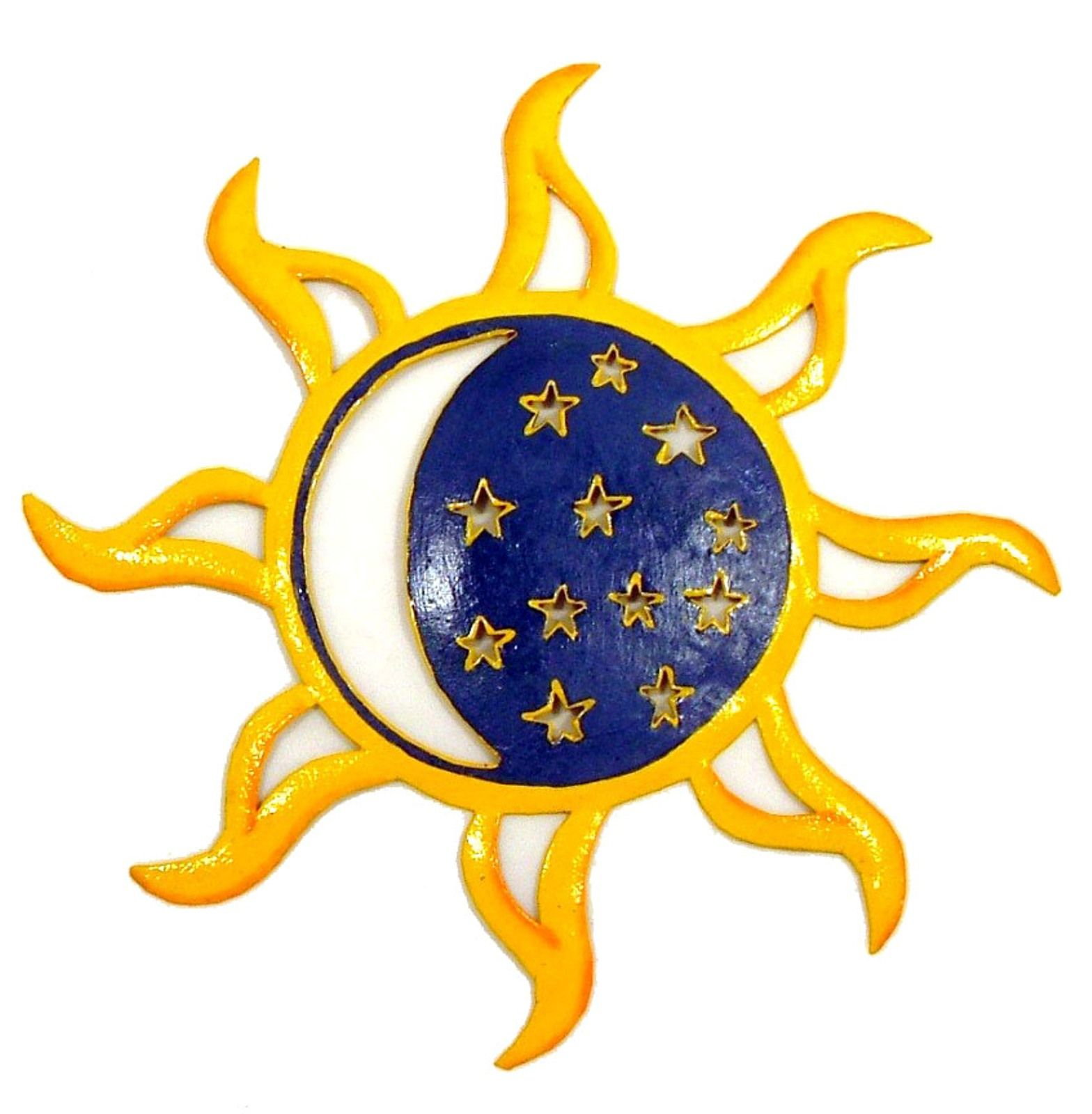 Hand Crafted Sun Moon Stars Celestial Haitian Metal Art | Moon ...
