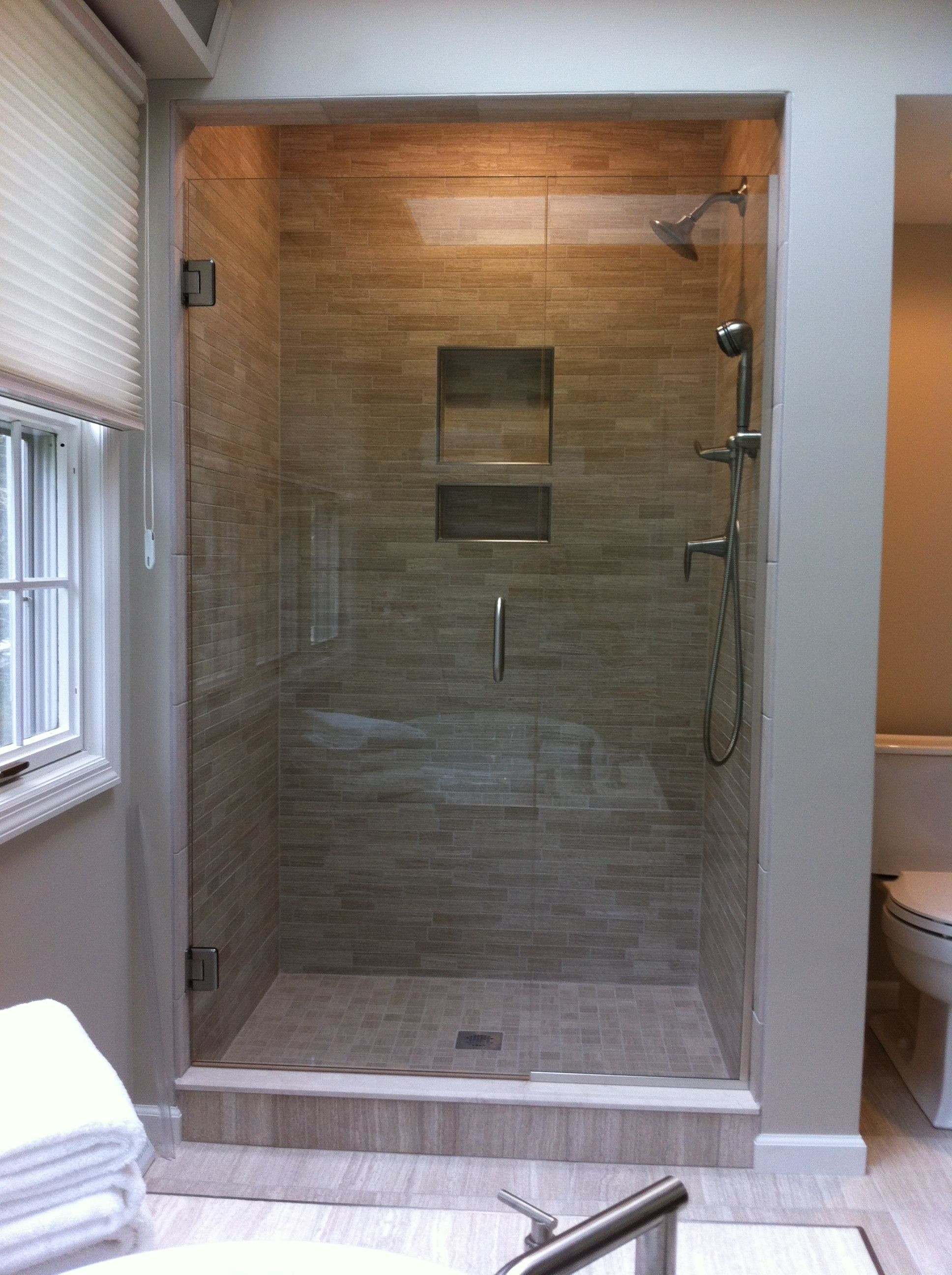 Remodeled And Updated Shower With Porcelain Mosaic Tile, Recessed Niche,  Kohler Mastershower Fixtures,