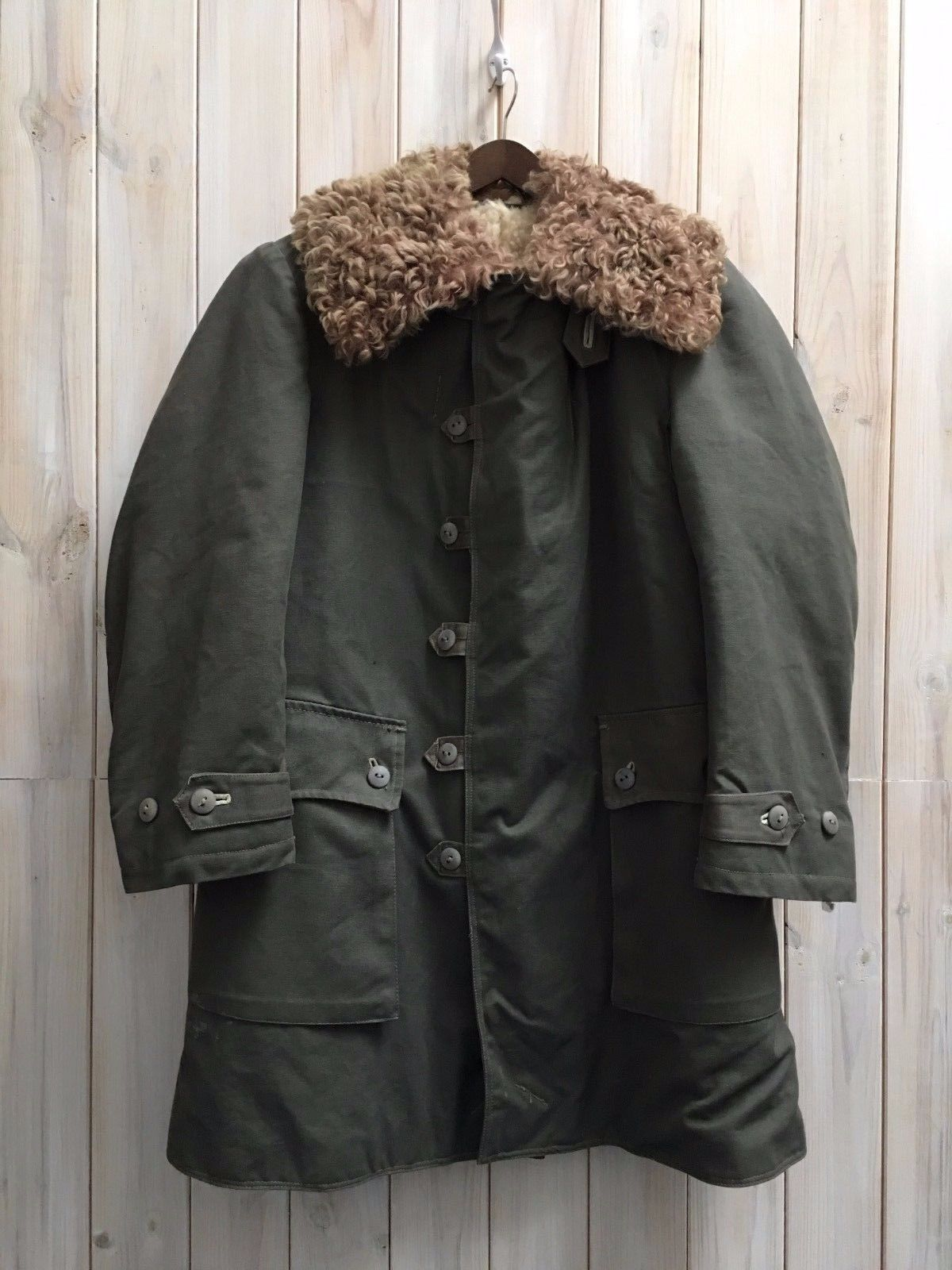 Vintage 1944 wwii #m1909 swedish army field coat #sheepskin canvas ...