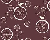 Birch MOD BASICS Birdie Spokes Mahogany- Organic Cotton Fabric- Check Out These Shipping Rates