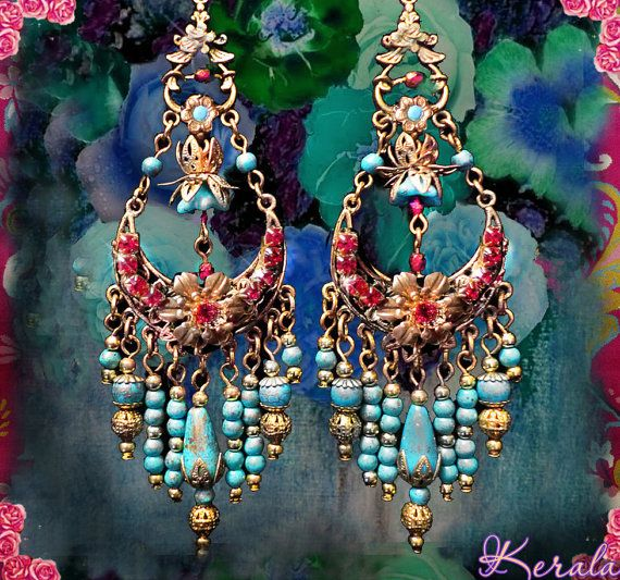 Bohemian Chandelier Earrings: Turquoise Bohemian Chandelier Earrings, Gold Lotus Beaded Flower Earrings,  Colorful Blue and Red,,Lighting