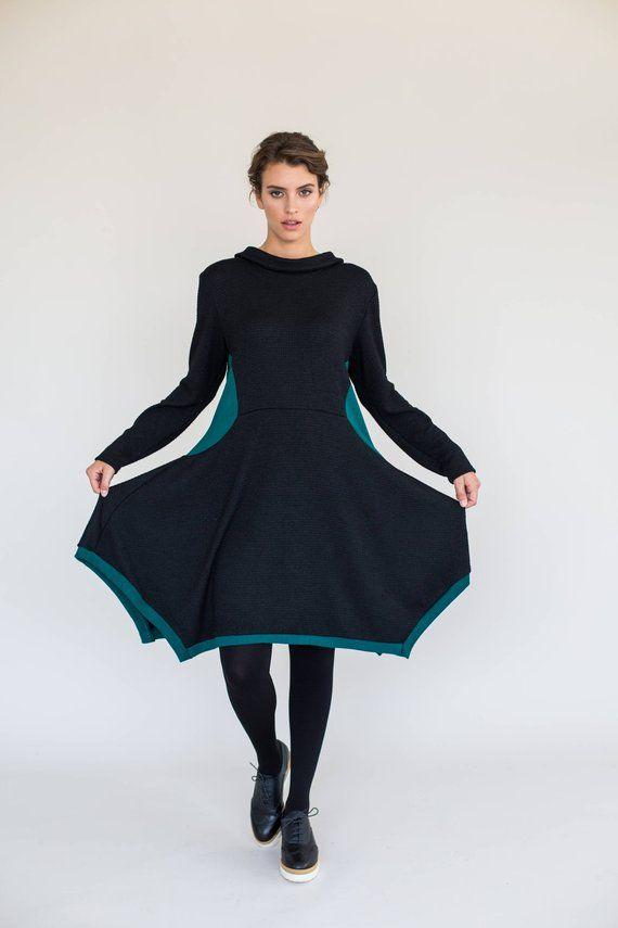 Black Winter Dress Long Sleeve Dress Black Dress Black Knee