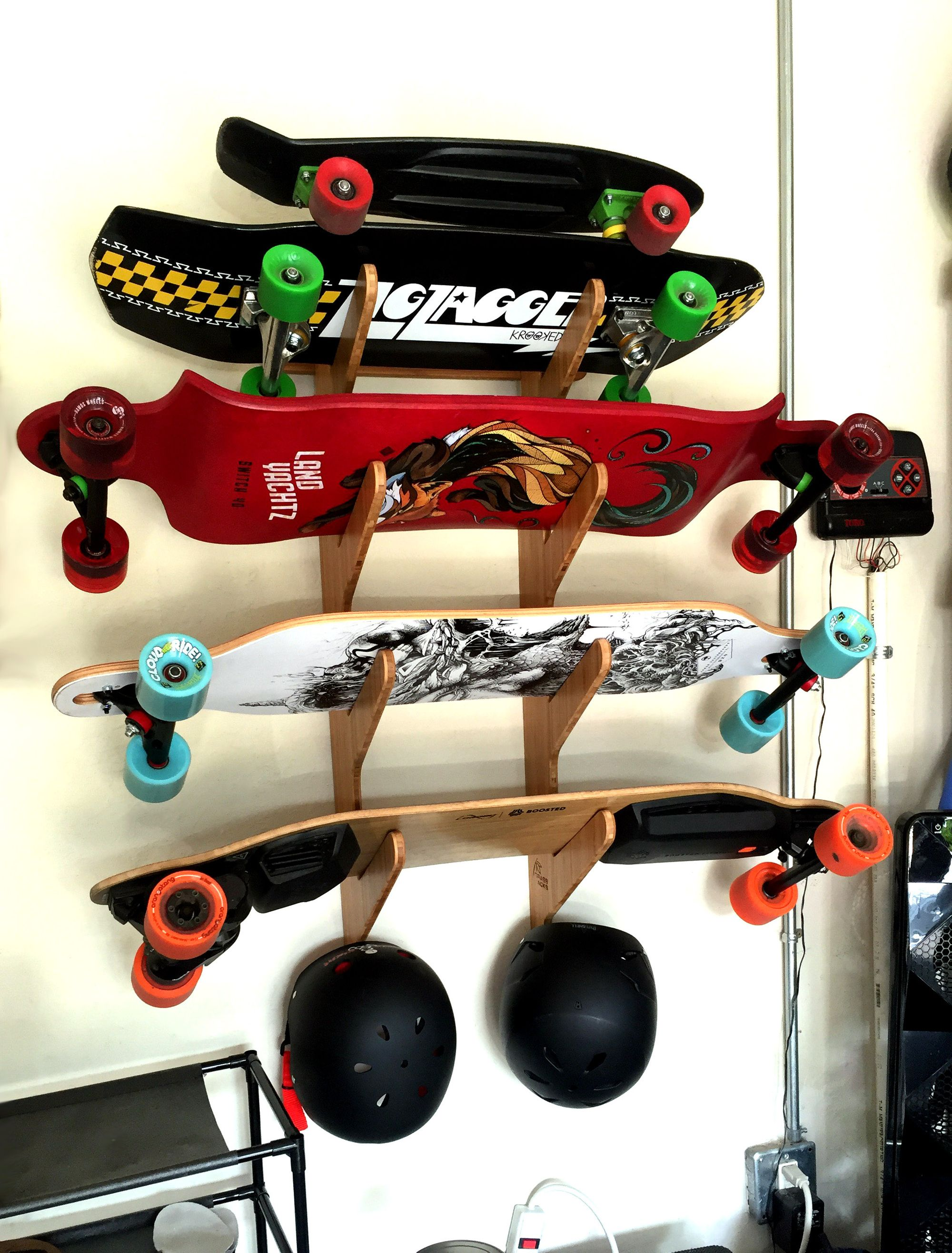 Put An End To The Unsightly Garage Board Pile And Organize Your Boards Helmets Etc With Our Moloka I Pro Skateb Snowboard Racks Skateboard Rack Board Rack