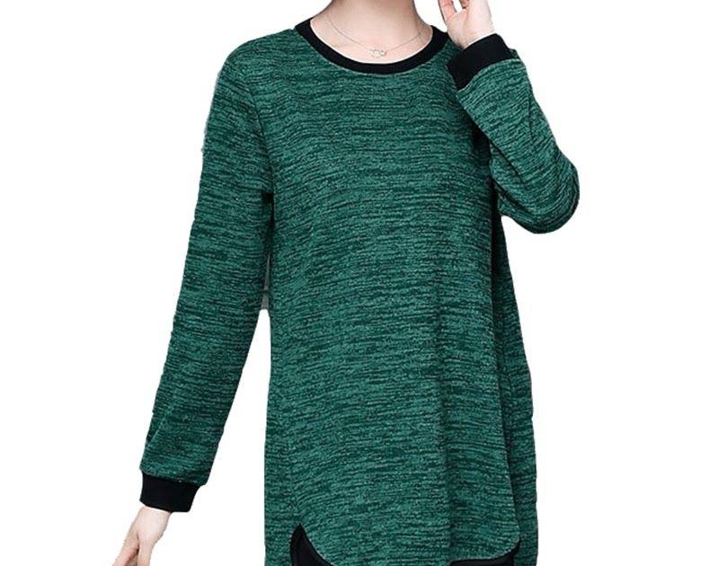 d7585539bc7 Free shipping Vogue Long Tee Shirt Femme 2018 Autumn Korean Harajuku Plus  Size 5XL Cotton T