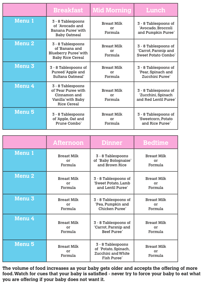 6 - 8 Month Menu Plan - Baby Recipes-Menu for babies From ...