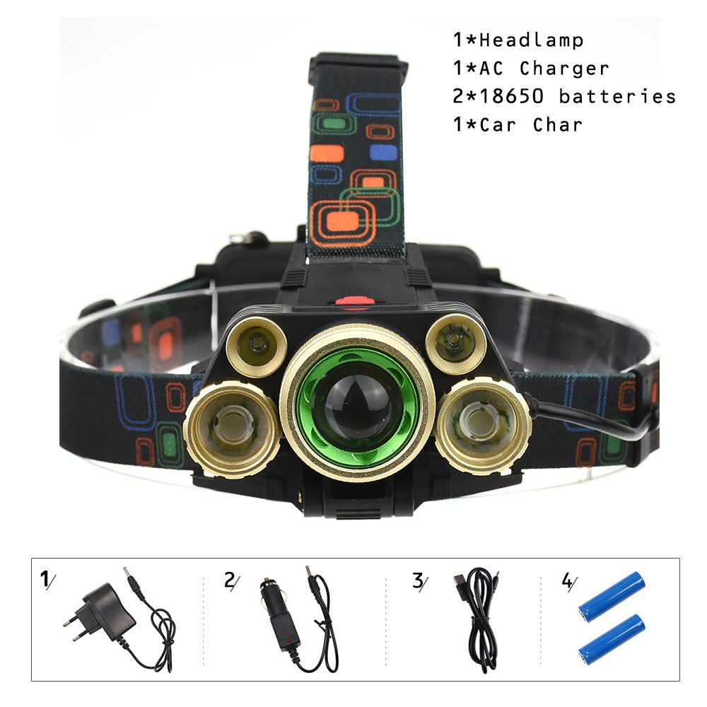 T6 5 Led Tactical Headlamp Rechargeable 18650 Battery 10000 Lumen Zoomable Waterproof Headlight Head Torch Lantern Fishing Camp 18650 Battery Headlamp Portable Light