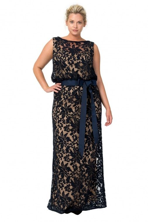 4af3490ecbc Embroidered Lace Blouson Gown in Navy   Nude