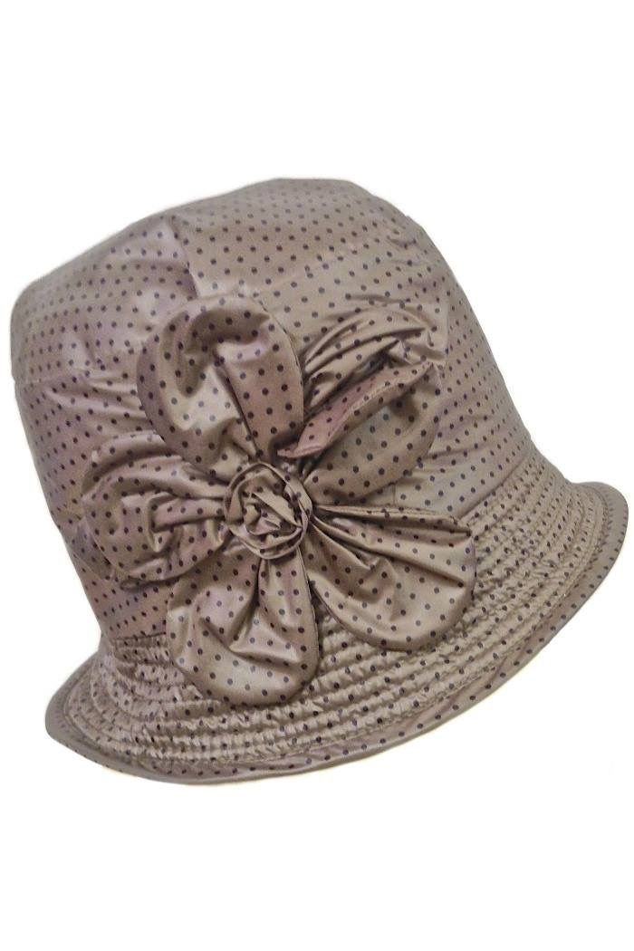 Pin dots rain hat with flower in color Taupe #SS2015 from Grevi at Moods of Florence, Portland Oregon.