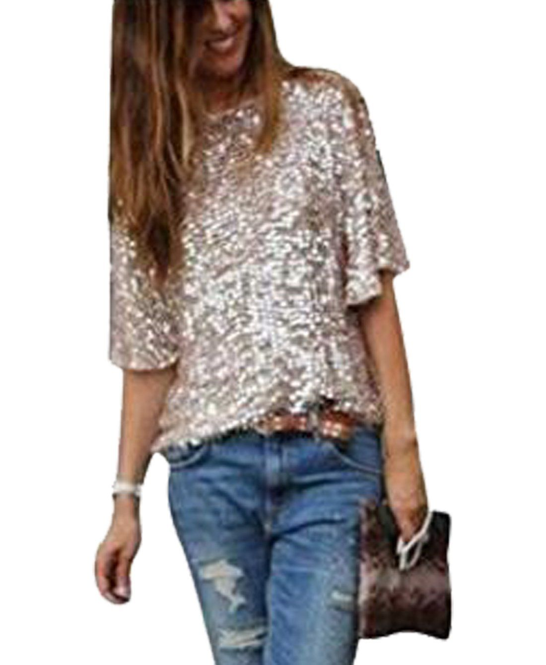 d489756fba1 Womens Off Shoulder Sequin Glitter Sparkle Party Top Blouse Shirt Plus Size  with Sleeve   Details can be found by clicking on the image.