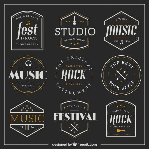 Download Collection Of Retro Music Badges For Free Music Logo Design Retro Logo Design Music Logo