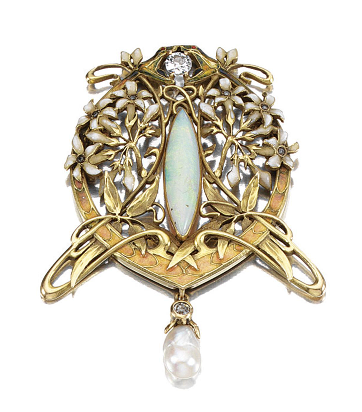 ENAMEL, OPAL, PEARL AND DIAMOND BROOCH, LATE 19TH CENTURY.  Designed as a pair of opposing serpents, their jaws clasping a circular-cut diamond, to a central navette-shaped opal within a diamond-set open work foliate surround of jasmine, suspending a baroque pearl and a diamond drop