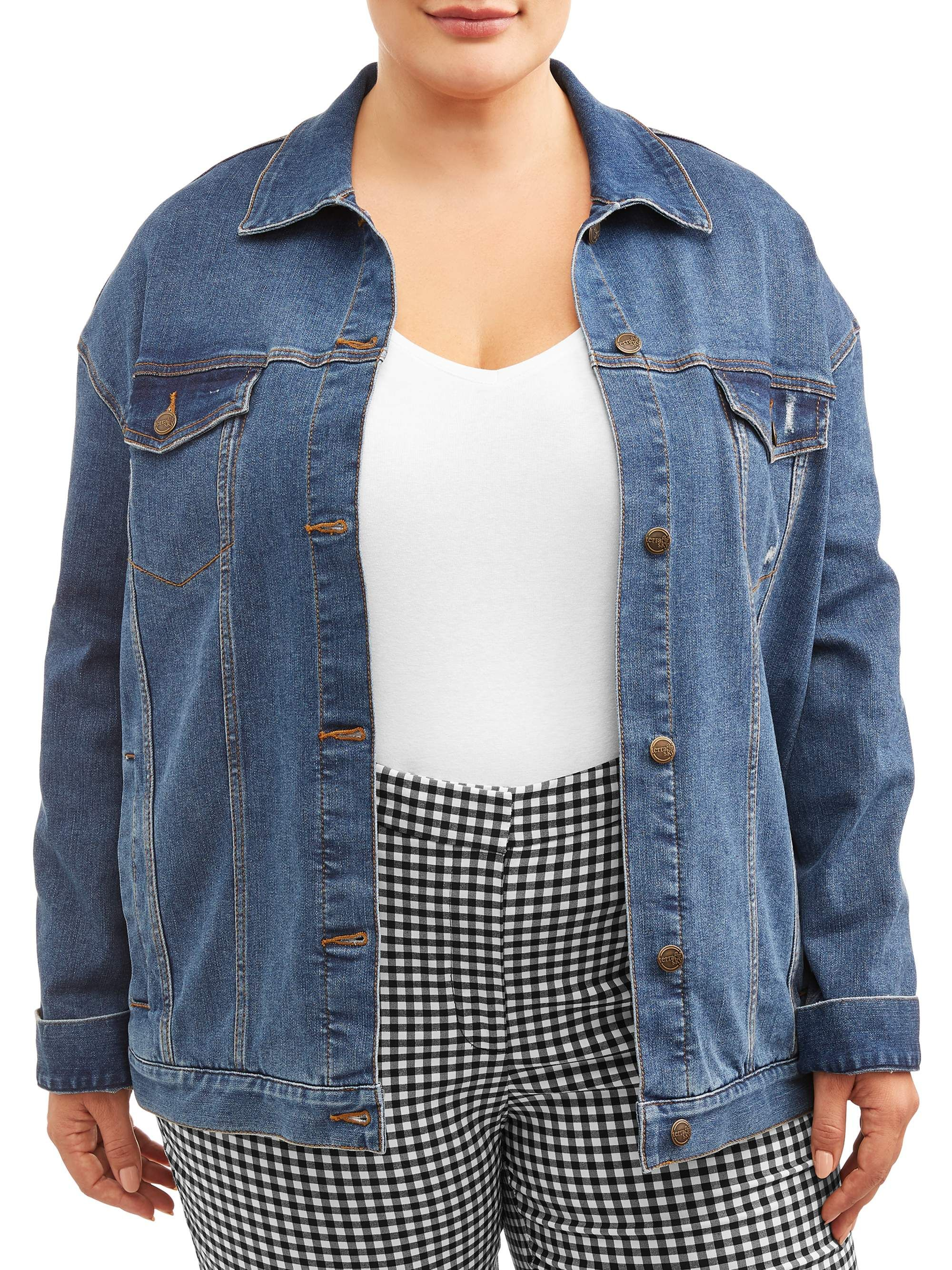 Terra Sky Terra Sky Women S Plus Size Everyday Essential Denim Jacket Walmart Com Denim Jacket Denim Denim Jacket Women [ 2667 x 2000 Pixel ]