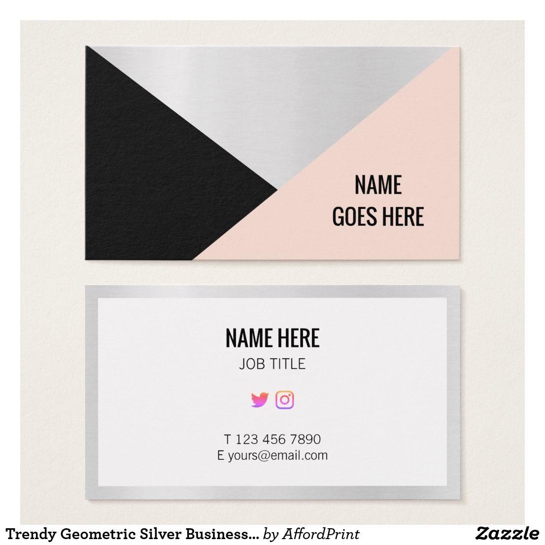 Trendy Geometric Silver Business Card Zazzle Com Chic Business Card Customizable Business Cards Foil Business Cards