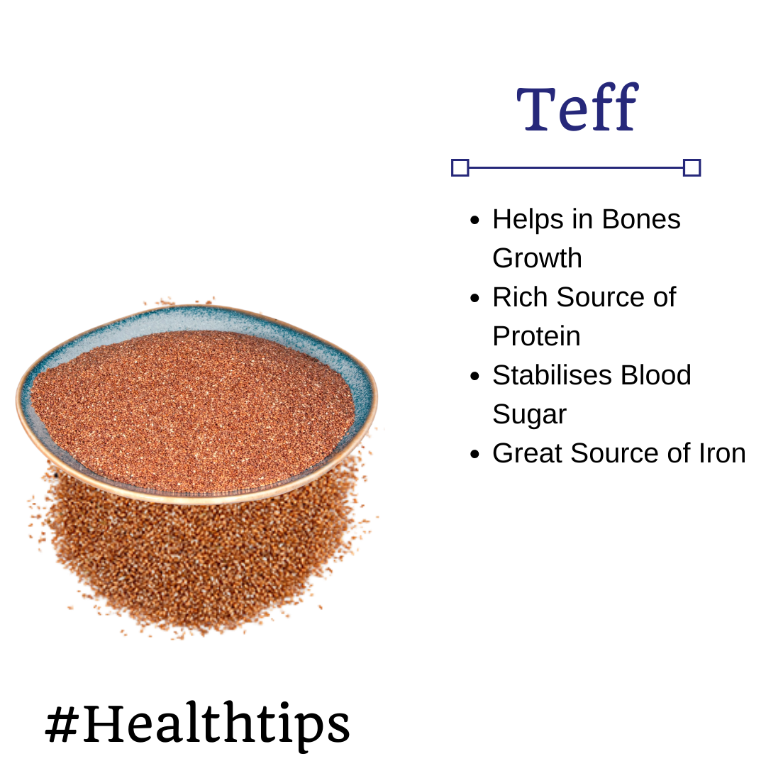 🌱 #Healthtips: Did you know teff helps in developing bones? And it is also a great source of iron....