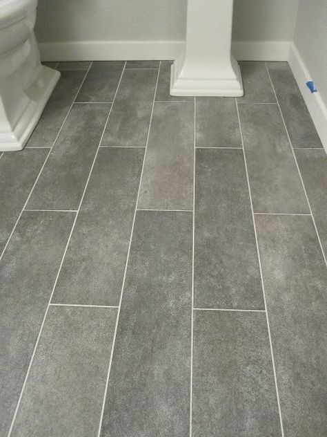 Wide plank tile for bathroom Great grey color! Great option if you - laminat in küche verlegen
