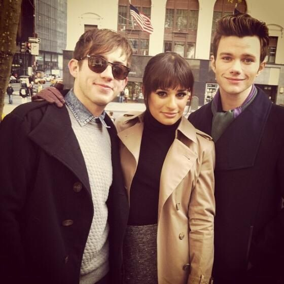 Kevin McHale, Lea Michele, and Chris Colfer (from Glee) in New York looking lovely.