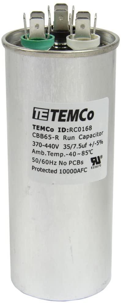 Temco Dual Run Capacitor Rc0168 35 7 5 Mfd 370 V 440 V Vac Volt 35 7 5 Uf Ac Electric Motor Hvac Home Improvement Hvac Capacitor Capacitors Electricity Hvac
