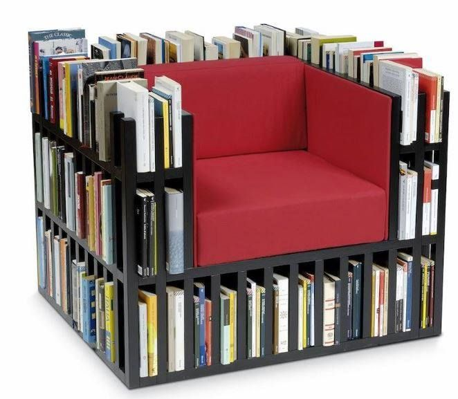 Book Chair Ideas Pinterest Library Room Organizing And - Bookchair combined with bookshelf
