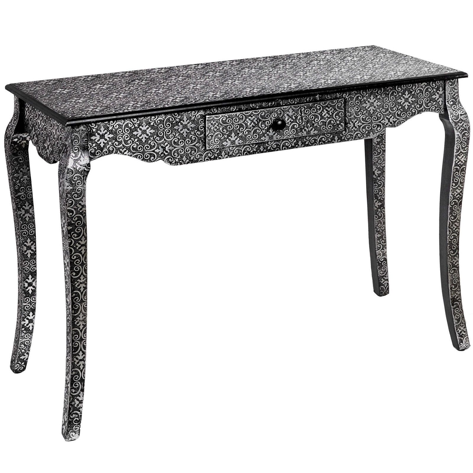 Marrakech Moroccan Style Carved Black Silver Wood Dressing Console