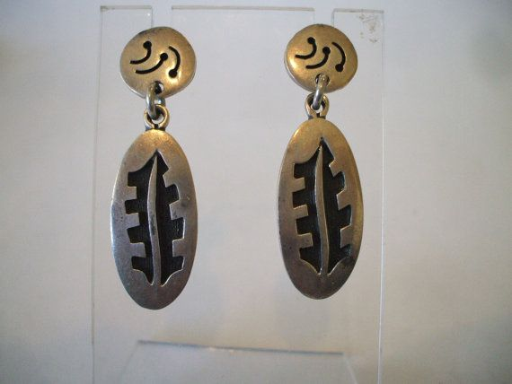 Heavy Gauge Vintage HOPI Sterling Silver Overlay Dangle EARRINGS Native American Symbols.  TurquoiseKachina, $107.10