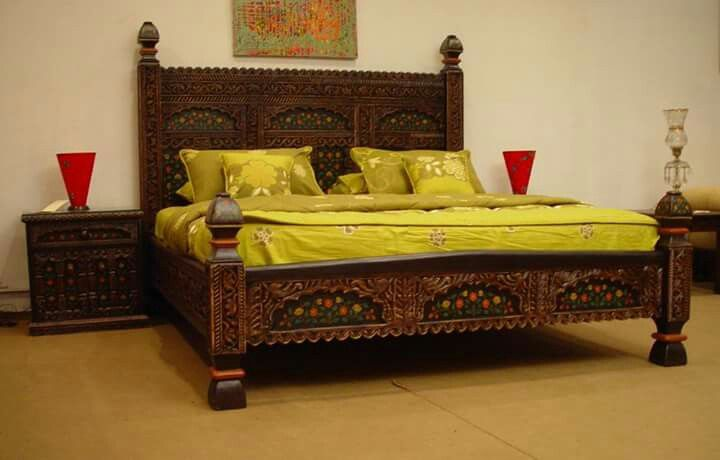 Chinioti Wooden Art From Pakistan Bed Furniture Design Bedroom Furniture Design Furniture Design Wooden
