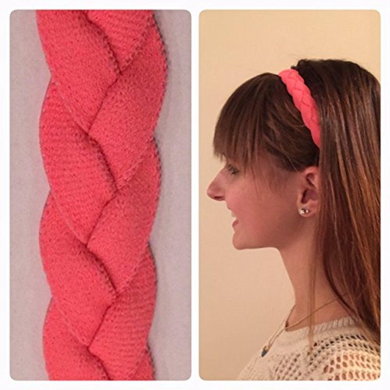 Fabulicious Peach MINI Braided Headband  NON SLIP Sports Hair Bands