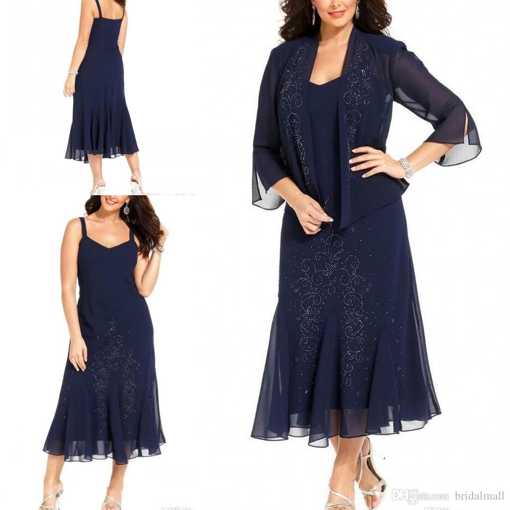 Tea Length 2019 Dark Navy Chiffon Plus Size Mother Of The ...