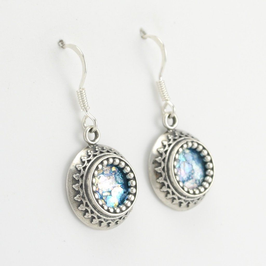 These Dangle Earrings Feature Two Thousand Year Old Ancient Roman Gl Are Handmade With