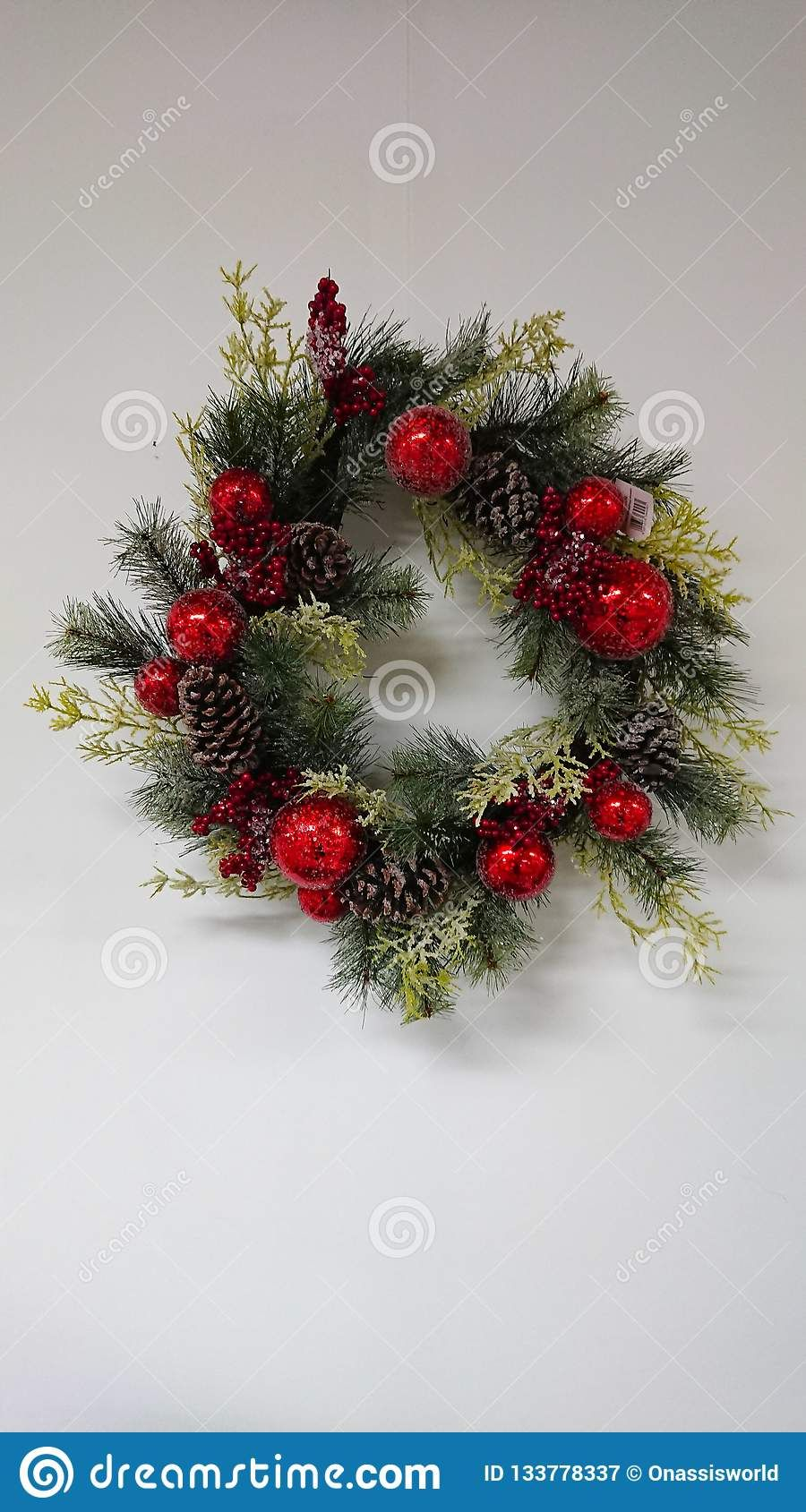 Photo About A Christmas Wall Decoration On A White Background Image Of Decoration Christmas Decorations 133778337 Christmas Wall Decor Wall Decor Decor
