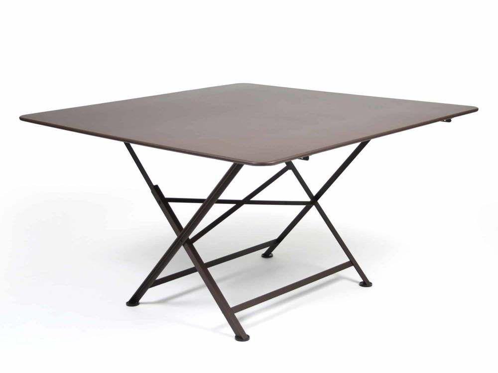 Table de jardin carrée pliante en acier 8 personnes ...