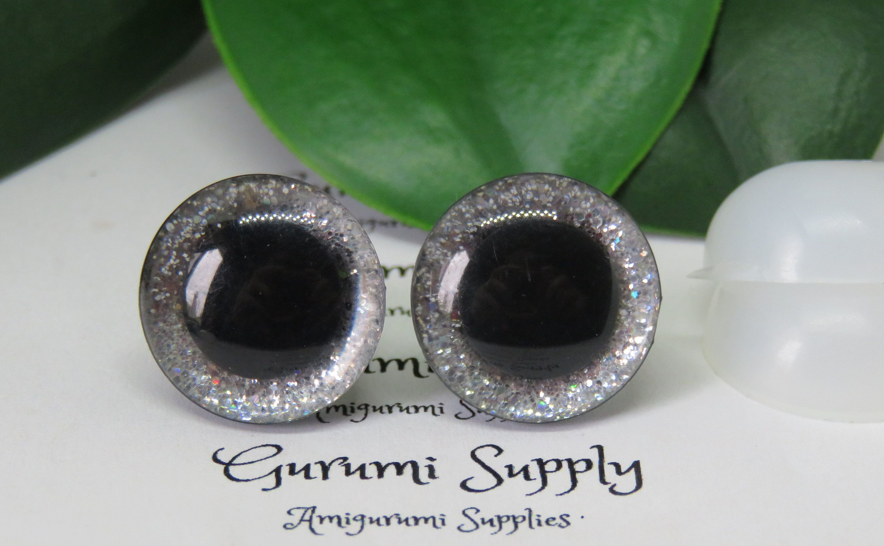 16mm clear trapezoid plastic safety eyes with a silver