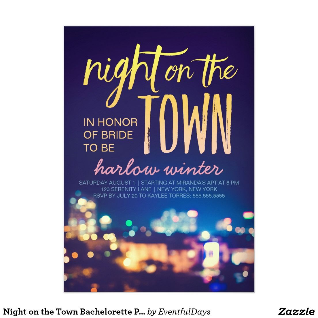 Night On The Town Bachelorette Party Card| Bachelorette Party/ Weekend  Invitations! Shop The Hundreds Of Wedding And Bachelorette Invitation  Designs On