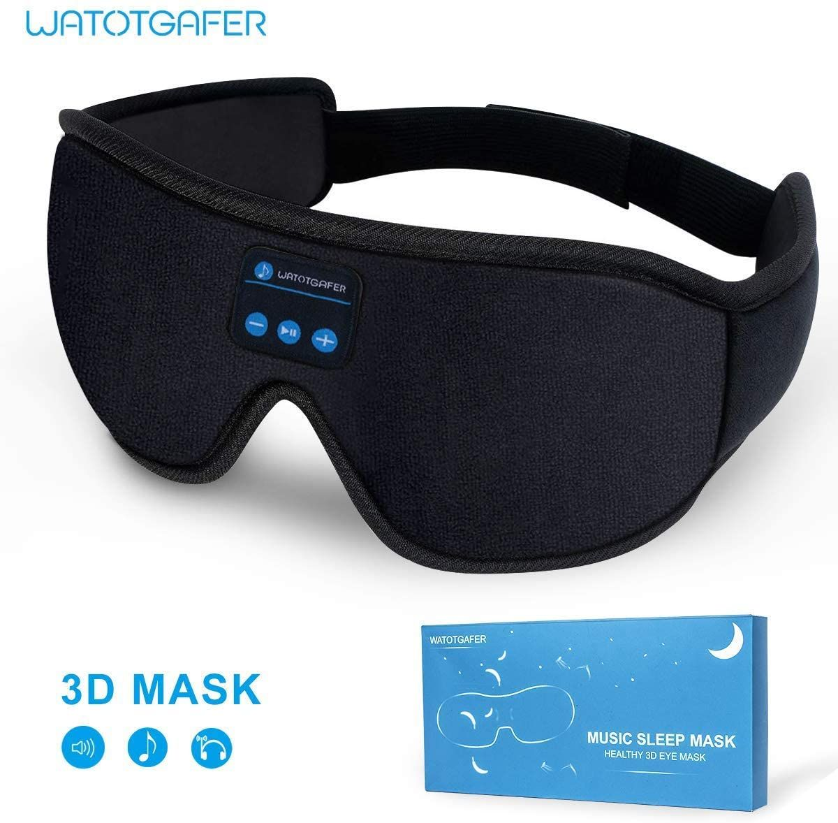 Casque de sommeil, masque pour les yeux 3D sans fil