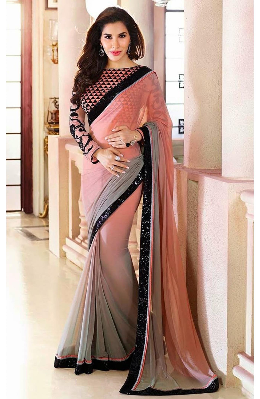 Royal Blue Bollywood Chiffon Plain Silver Border Party Wear Saree Sari Dress TOP