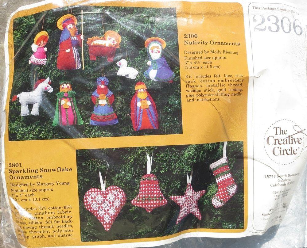 The Creative Circle #2308 Nativity Ornaments Christmas Felt Craft Kit